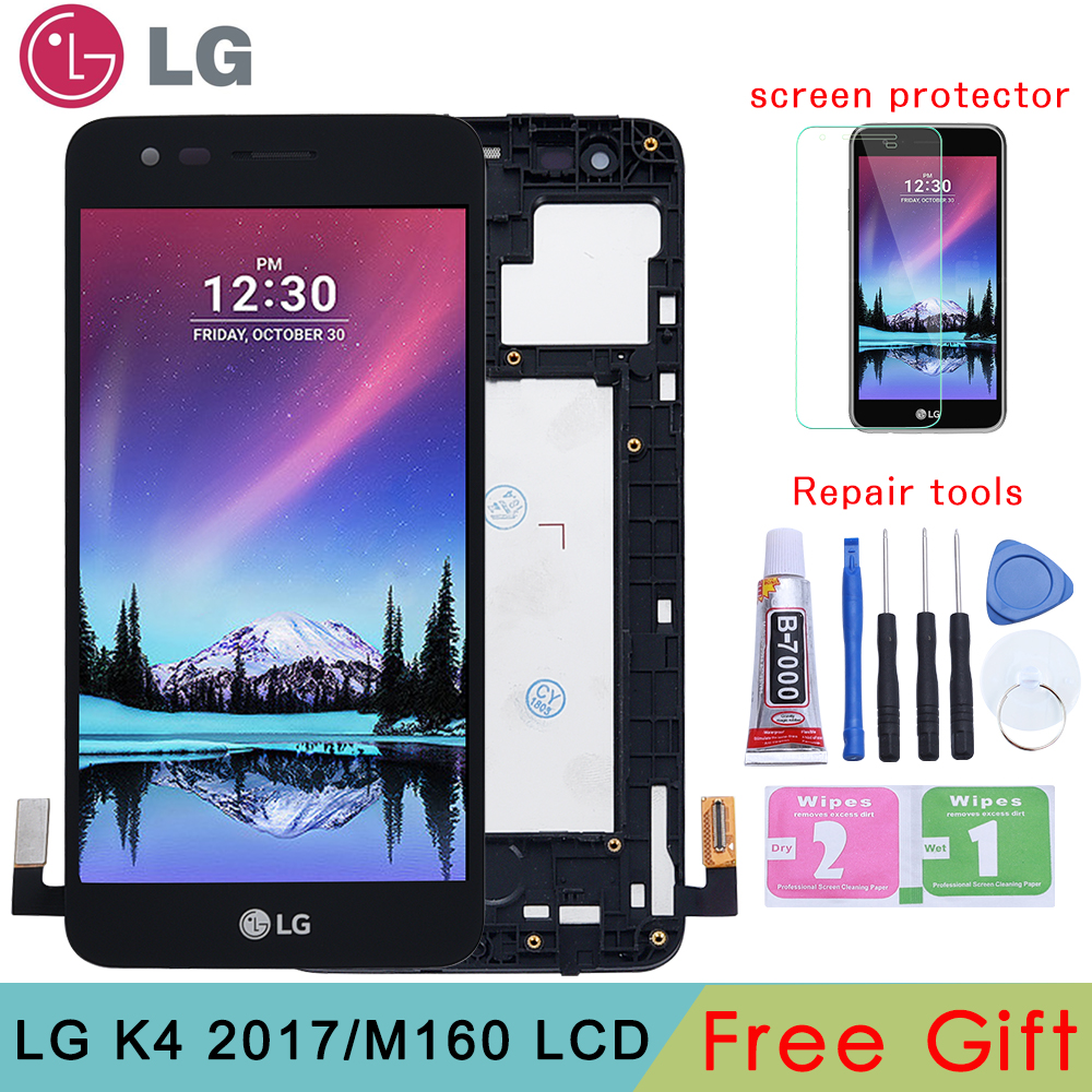 Original For LG K4 2017 M160 LCD Display Touch Screen Digitizer With Frame Assembly Or LCD No Frame For K4 2017 M160