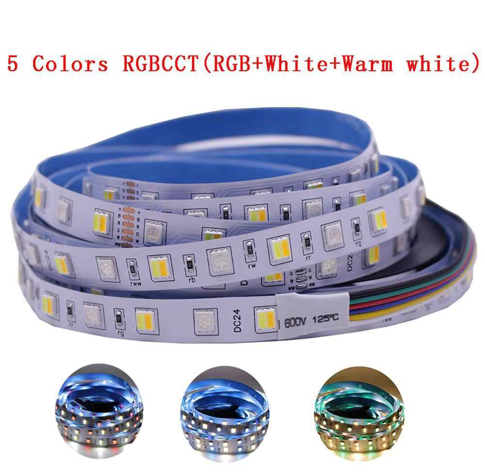12mm PCB 5 M 4in1 5in1 RGB + CCT LED bande 5050 60 LED s/m 5 couleurs dans 1 puce CW + RGB + WW RGBW RGBWW flexible LED bande lumineuse 12 V 24 V