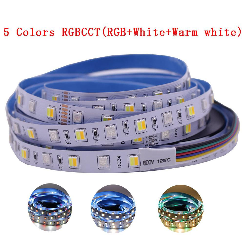 12mm PCB 5M 4in1 5in1 RGB+CCT LED Strip 5050 60leds/m 5 Colors In 1 Chip CW+RGB+WW RGBW RGBWW Flexible Led Tape Light 12V 24V