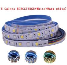 12mm pcb 5m 4 em 1 5 em 1 rgb + cct led strip 5050 60leds/m 5 cores in cw + luz de led flexível, 1 chip, cw + rgb + ww rgbw rgbww, 12v 24v