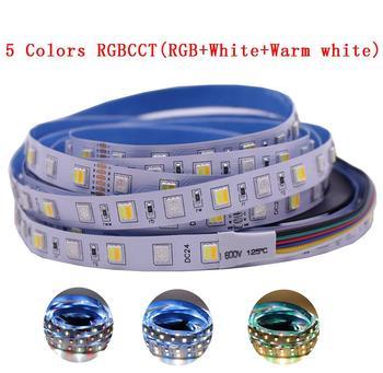 12 мм PCB 5 м 4в1 5в1 RGB + CCT Светодиодная лента 5050 60 светодиодов/м 5 цветов в 1 чипе CW + RGB + WW RGBWW гибкий светодиодный ленточный светильник 12В 24В