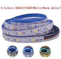 12mm PCB 5M 4in1 5in1 RGB + CCT LED tira 5050 60 leds/m 5 colores en 1 chip de CW + RGB + WW RGBW RGBWW flexible Led Luz de cinta 12V 24V