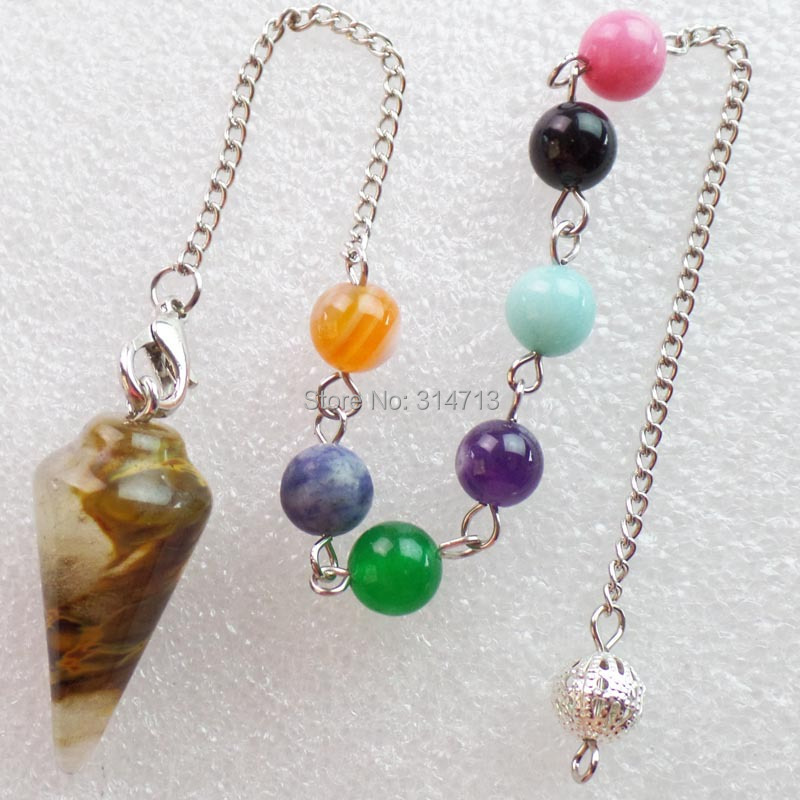 (Min.order 10$ mix)Wholesale 1 piese Cherry Quartz 32X15MM Pendulum With 7pcs Mixed 8mm beads And The Chain length 250mm
