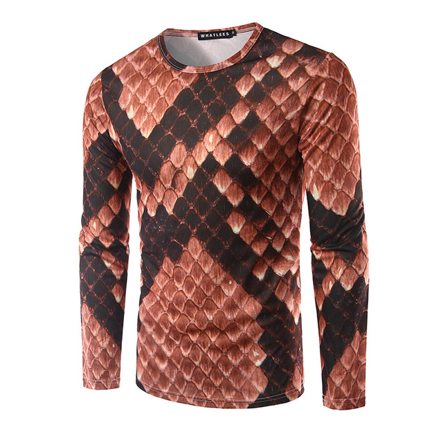Mens Python Skin Printing Slim Long Sleeved T Shirt Picture Color M 2XL