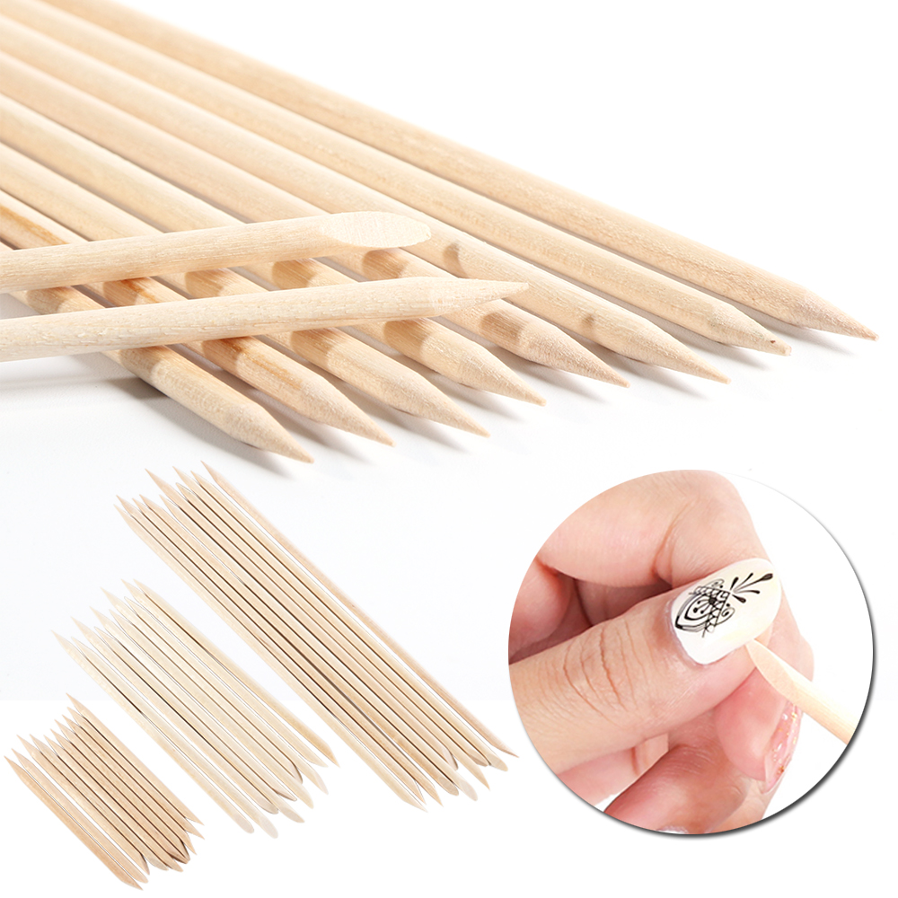 1 Set Orange Holz Stock-häutchen-schieber-remover Doppelseitige Abgewinkelt UV Gel Reinigung Maniküre Pediküre Nagel Pflege Werkzeuge S /M/L JI709