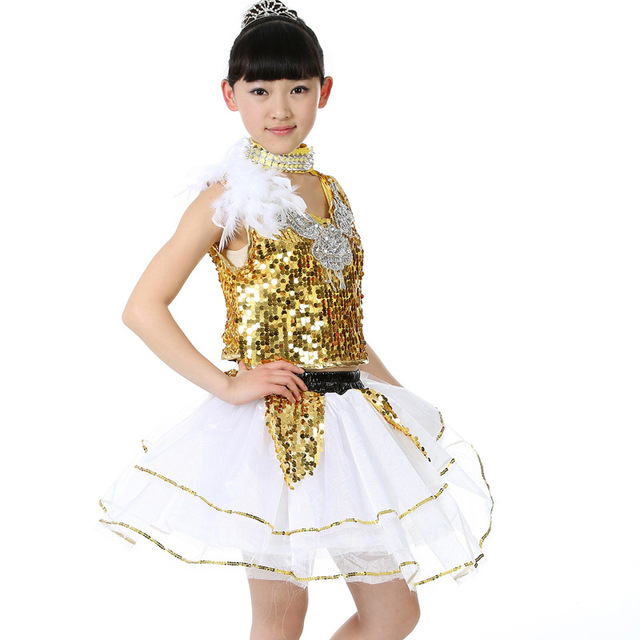 Kids Girls Jazz Latin Ballet Dance Costume Party Dress Dancing Skirt Top Outfits