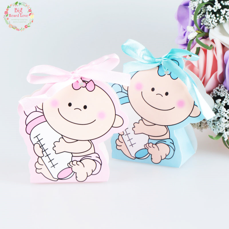 48pcs/set Baby Girl And Boy Paper Gift Box Party Baby Shower Candy Box Baby Feeding Bottle Birthday Party Decorations Kids