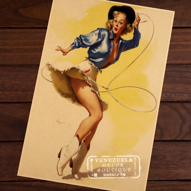 Sexy Cowboy Pin Up Girl Pop Art Map Poster Classic Vintage Retro ...