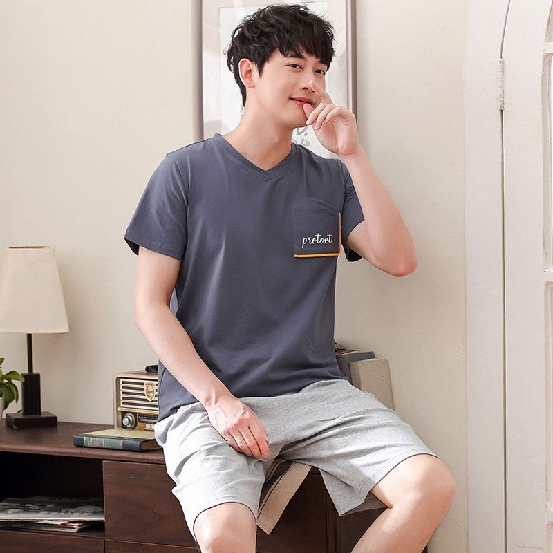 Men summer new cotton Korean pajamas casual pullover short sleeve shorts thin two piece pajama sets men pajamas men sleepwear(China)