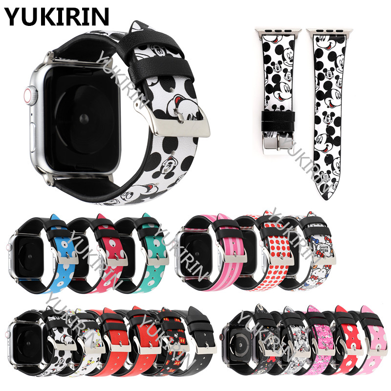 Dots Minnie Mickey Hello Kitty Cat Genuine Leather Band for Apple Watch Series 4 3 2 1 Strap for iWatch 38 42mm 40 44mm MouseDots Minnie Mickey Hello Kitty Cat Genuine Leather Band for Apple Watch Series 4 3 2 1 Strap for iWatch 38 42mm 40 44mm Mouse