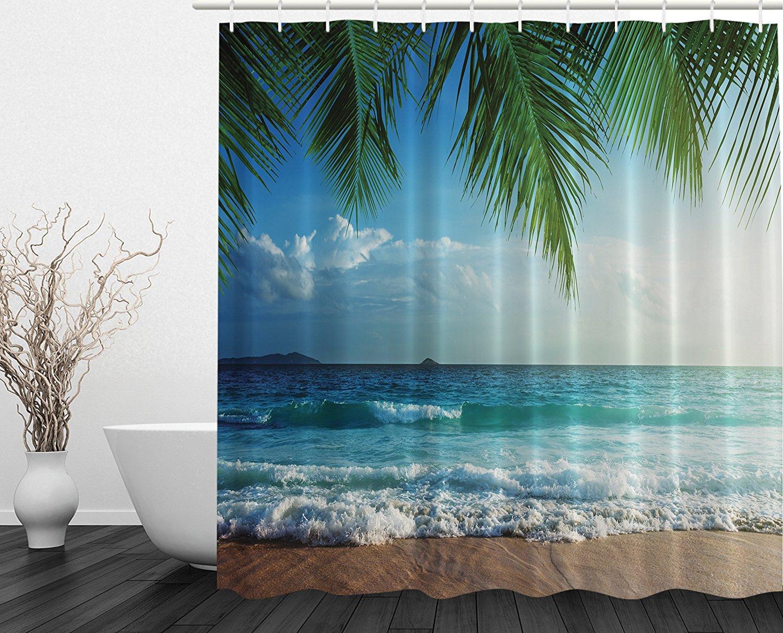 Us 13 02 43 Off Palms Ocean Tropical Island Beach Decor Maldives High Home Decor Bathroom Textile Print Fabric Shower Curtain In Shower Curtains