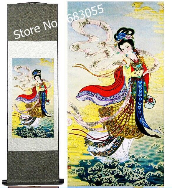 Diagramme de beauté parure soie/accrocher une image/peinture décorative défilement peinture en gros AT009