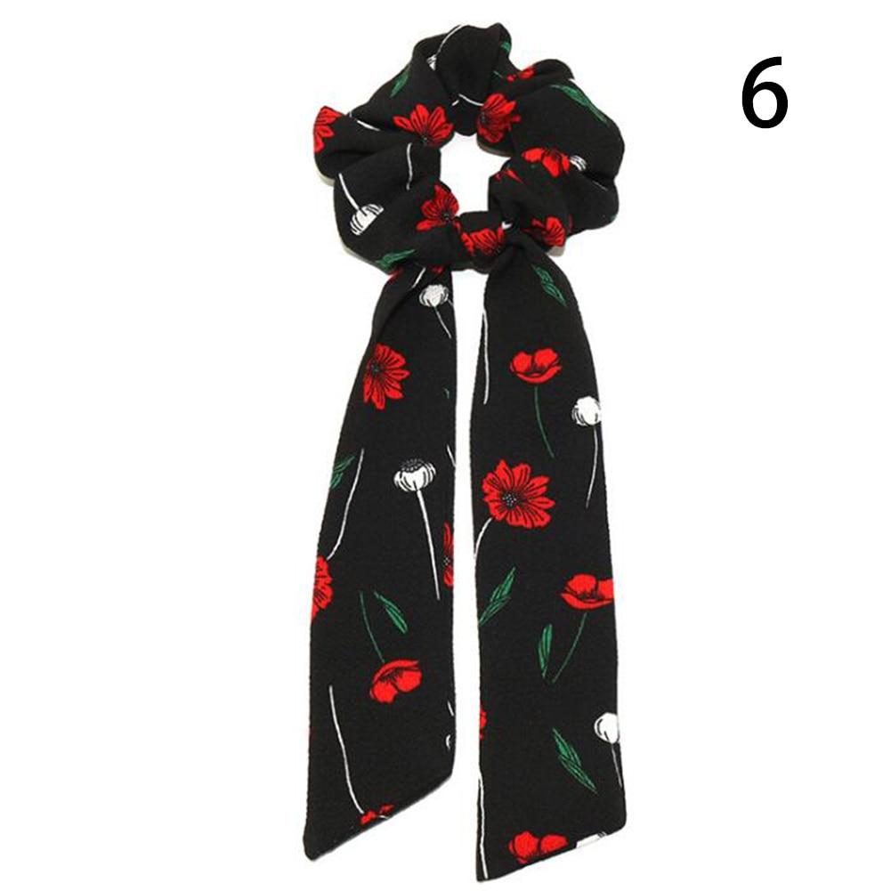 Богемные резинки для волос в горошек с цветочным принтом и бантом, женские эластичные резинки для волос, повязка-шарф, резинки для волос, аксессуары для волос для девочек - Цвет: 6