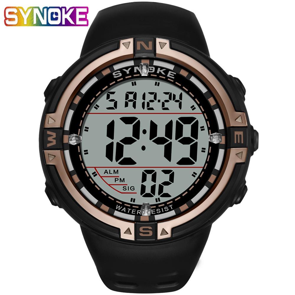 SYNOKE Men Watches Multi Functional Waterproof Running Seconds Electronic Luminous Sports Large Dial Digital Relogio Clock