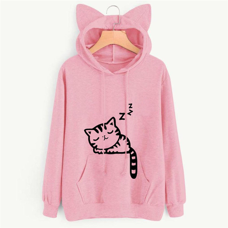 Casual Grey Long Sleeve Cat Pattern Pullover Fashion Loose Sweatshirt Top New Women's Clothing Winter Cat Ear Hoodie Plus Velvet