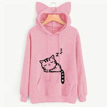 Casual Grey Long Sleeve Cat Pattern Pullover Fashion Loose Sweatshirt Top New Women's Clothing Winter Cat Ear Hoodie Plus Velvet bow back two tone cat ear hoodie