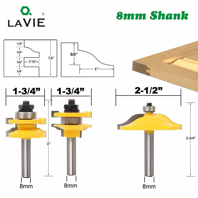 8mm Shank 3pcs Door Panel Cabinet Tenon Router Bit Cabinet Rail & Stile Set Panel Raiser Ogee Milling Cutter for Wood MC02033 цены