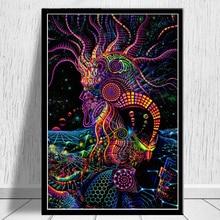 Абстрактные картины Blacklight арт психоделическая футболка печать плакатов современные настенные картины на холсте для гостиной домашний декор
