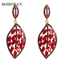 Bohopan 2019 New Arrival Fashion Red Crystal Leaf Drop Earrings For Women Luxury Party Jewelry Popular Gift brinco