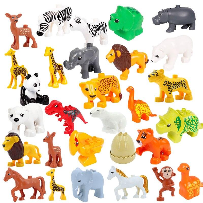 Duplo Animal Model Zoo Figures Big Building Blocks Elephant Bear Tiger Dinosaur Egg Animals DIY Bricks Toys For Kid Gift