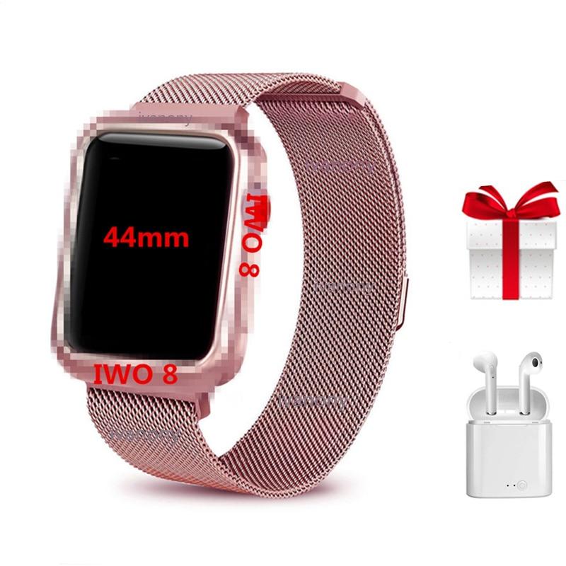 IWO 8 + Milanese correia de aço/set ECG monitor De Freqüência Cardíaca smartwatch Relógio Inteligente Série 4 1:1 44mm relogios IWO8 inteligente Mais Recente