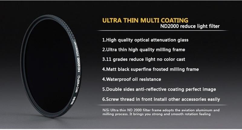 Nisi obscuration nd2000 72mm ultra-mince densité neutre ND4.0 gris miroir filtre + objectif stylo pour canon 85 1.2 35 1.4nikon24-85