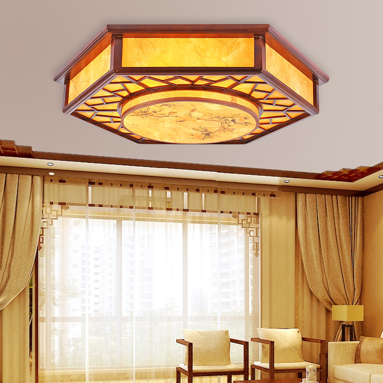Chinese style Wooden restaurant dining room ceiling light hexagon sheepskin printing imitation sheepskin ceiling lamp ZH ZS58