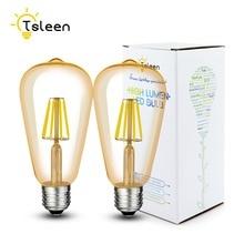 TSLEEN Coffee Bar Retro E27 Edison Filament Bulbs Dimmable LED Light Amber Golden Shell ST64 Lamps 110/220V 16W ampolletas led