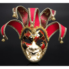 Full Face Men Venetian Theater Jester Joker Masquerade Mask With Bells Mardi Gras Party Ball Halloween Cosplay Costume