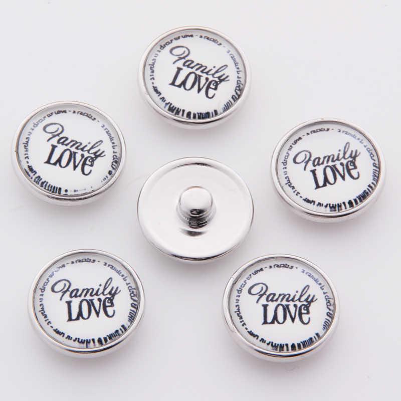Venta al por mayor de dibujos animados familia amor Snap joyería 18mm botones a presión DIY botones de vidrio para mujeres TZ4116