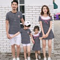 2017 Fashion Family Set Striped Mother Daughter Dresses Clothes Father Son T shirt+Shorts Cotton Family Clothing Sets 3XL HH19