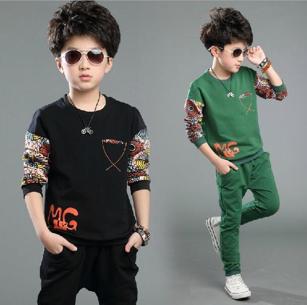 Children's Tracksuits Cotton Print Ensemble Garcon Long Sleeve Kids Clothing For Boys Autumn Outfits Coat Two-piece Sets