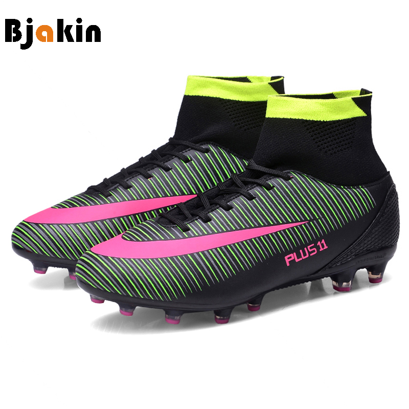 86a59c8484 Bjakin High Top Men Soccer Shoes Boots Adults Cleats TF FG Football Boots  Training Soccer Man Sports Shoes Sneakers Big Size 46