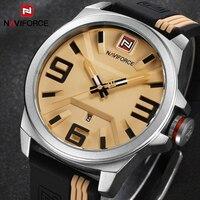 시계 남성 NAVIFORCE 브랜드 스포츠 시계 남성 방수 실리콘 고무 스트랩 쿼츠 시계 학생 패션 캐주얼 시계