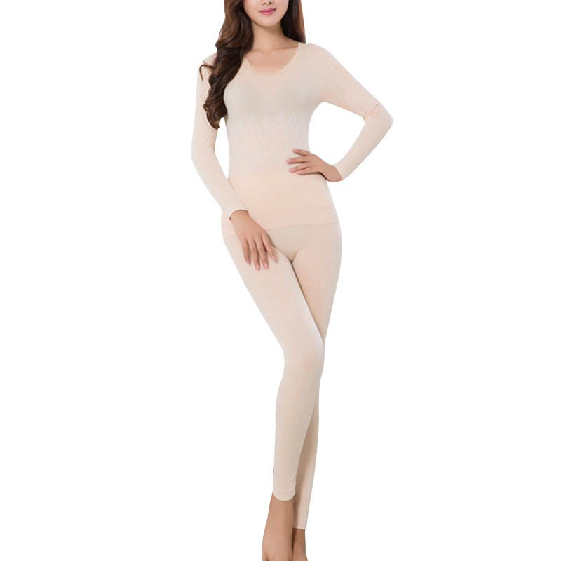 Women Long Johns Winter Clothing Lace Neck Female Long-sleeve Intimate Pajama Suit Keep Warm Underwear