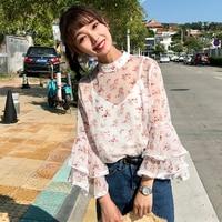 Mihoshop 얼짱 한국어 한국 여성 패션 의류 여름 새로운 달콤한 꽃 무늬 쉬폰 블라우스