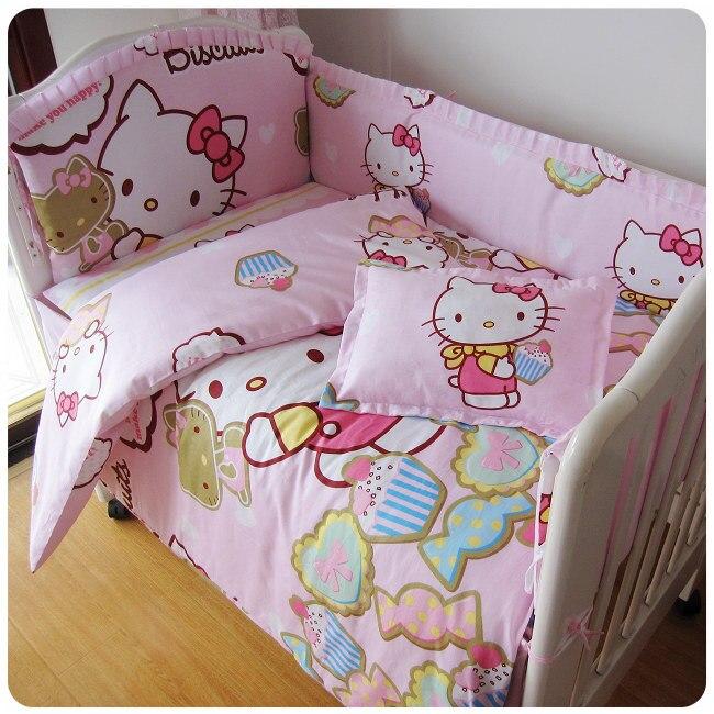 Promotion 9pcs Full Set Cartoon baby bedding cot bumper 100 cotton bedding kit berco 4bumper sheet