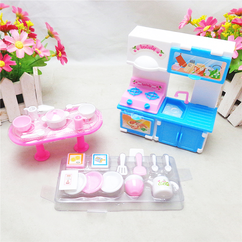 20 Pcs set Fashion Dinner Table Cupboard Sink Kitchenware Set House For Barbies Doll Accessories Random