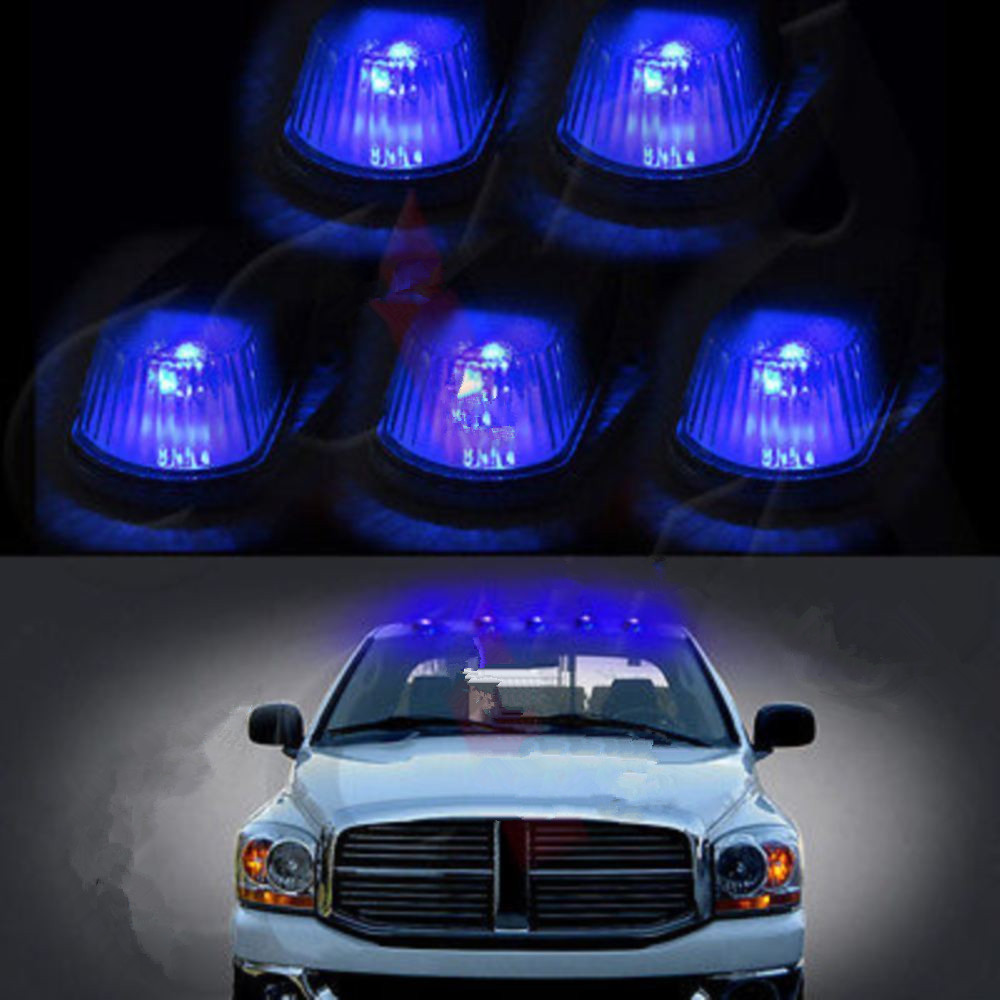 CYAN SOIL BAY 5pcs Classic Clear Cab Roof Marker Running Lamps w/ LED Light Bulb For Truck 4x4