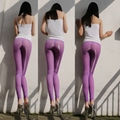 Sexy Ice Silk Transparent Pencil Pants See Through Shiny Glossy Underwear Leggings Night Club Dance Wear Purple FX1029