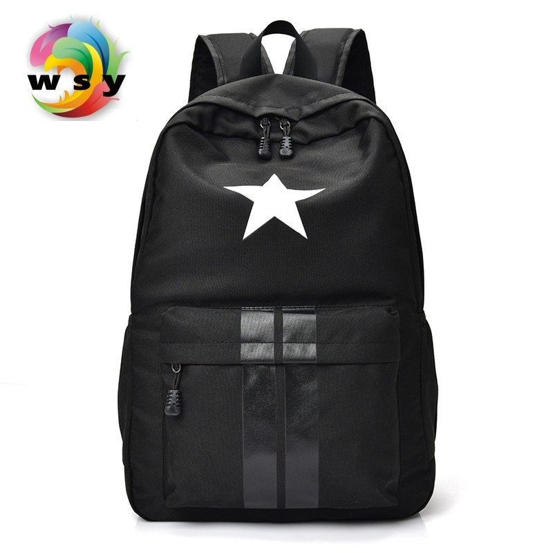 Star & Strips Printing Canvas Backpack Contracted Joker Preppy Style School Backpack Portable Large Capacity Travel Backpack