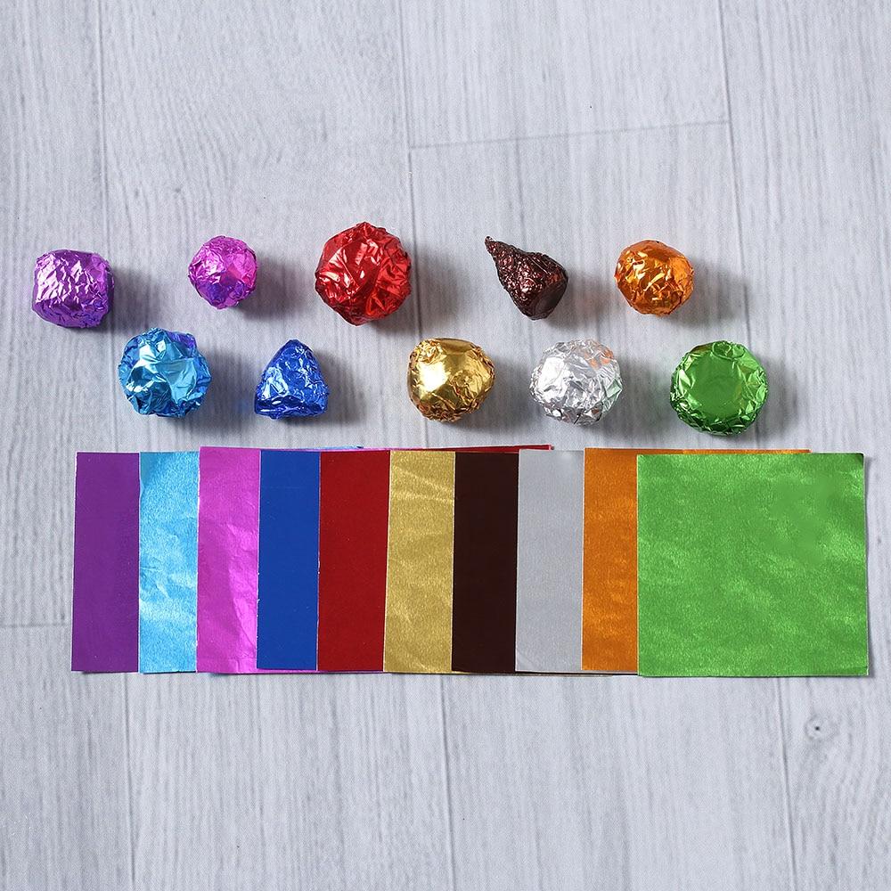 """100 шт./компл. 3,1"""" x 3,15"""" Мути-цвет 8011 еда алюминиевая фольга DIY шоколадные конфеты пакет бумаги 10 цветов"""