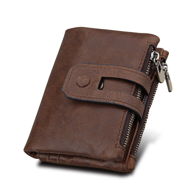 Hot Genuine Leather Men Wallet Small Men Wallets Double Zipper Hasp Male Portomonee Short Coin Purse
