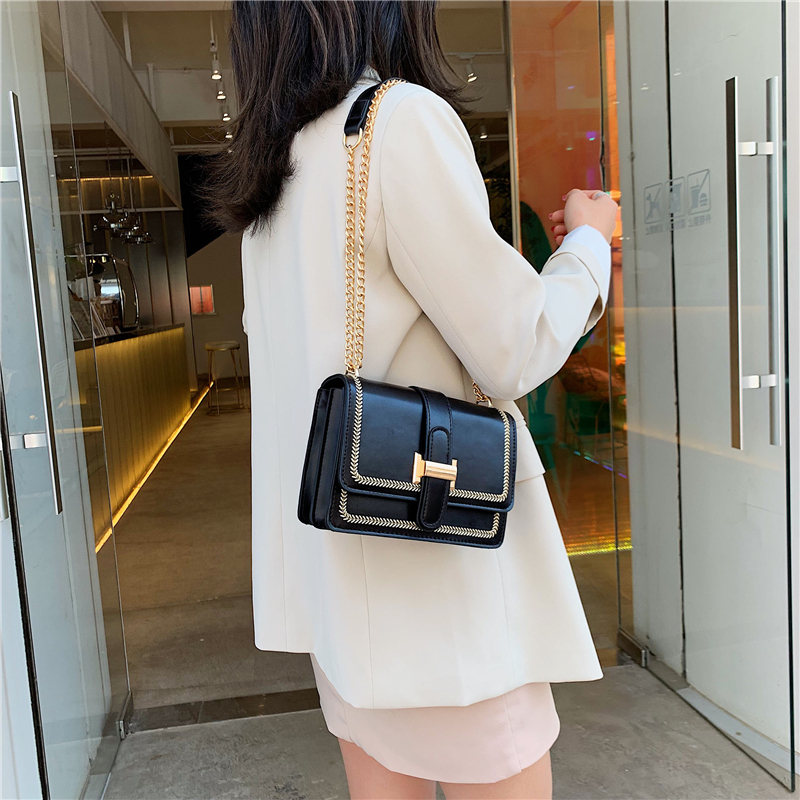 Quality PU Leather Square Crossbody Bags For Women 2020 Luxury Handbags Fashion Simple Chain Female Shoulder Messenger Bag