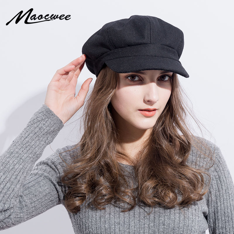 Super Warm High Quality Fashion Artist Wool Women Beret Hat For Women Cap Female Cap Casual Dome Bare Chapeu Hats Boina 2018 New