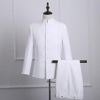 White 2020 new arrival slim hinese tunic suit men suit set with pants mens wedding suits formal dress men's groom suit + pant