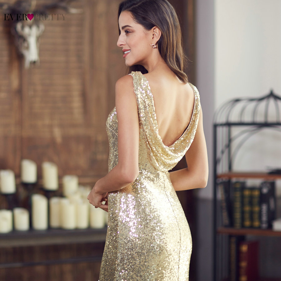 Gold Long Evening Dress Ever Pretty Back Cowl Neck EP07110GD Shine Sequin Sparkle Elegant Women 2017