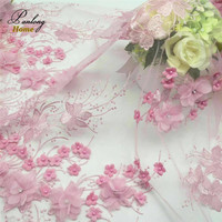 PanlongHome 5yds High End Luxury 3D Rhinestones Beads 130CM Width Pink Mesh Lace Fabric DIY Wedding