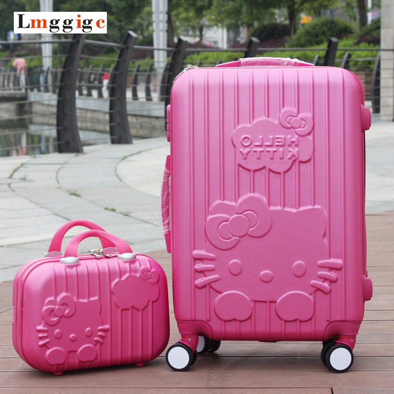 Hello Kitty Luggage set,Candy color KT Suitcase,ABS material Carry-Ons,20 &24 traveling box ,Trolley Travel bag+Cosmetic Case