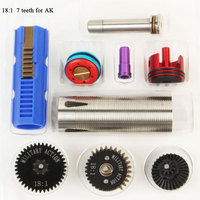18:1 High Speed Gear 7 Teeth Piston stainless Cylinder Piston Head Spring Guide Nozzle Tune Up Set for M4/AK series Airsoft